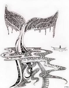 detailed whale doodle drawn by Jenny Lawson