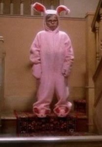 Ralphie wearing bunny costume in A Christmas Story