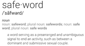 definition of safeword: a word serving as a prearranged and unambiguous signal to end an activity