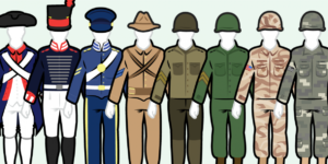 simple color drawing of U.S. army uniforms over time