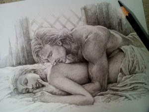 partial nude drawing of man laying over woman's back