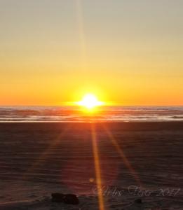 yellow and orange sunset over water on beach horizon