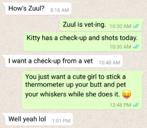 funny whatsapp conversation about veterinarian
