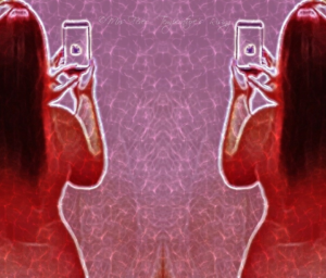 abstract mirrored/flipped half-body image of nude woman taking cell phone photo